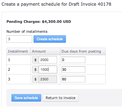 Draft Invoices Payment Schedules Fusebill Support - Quickbooks invoice installments